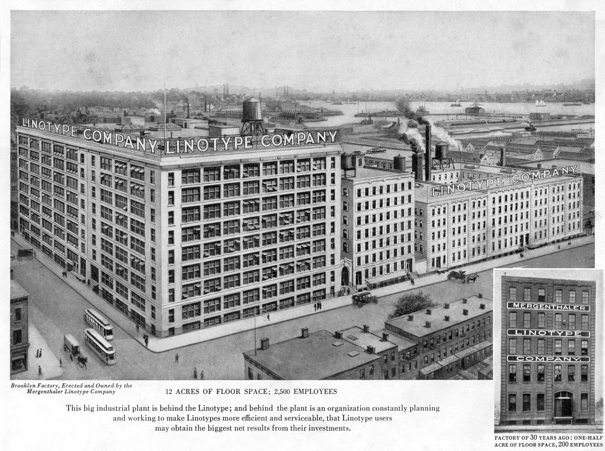 Linotype factory, Brooklyn, New York, 1919